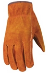 Wells Lamont, 1015L, Large, Men's Bucktan Split Cowhide Leather Suede Work Gloves, Patch Palm, Double Shirred Wrist