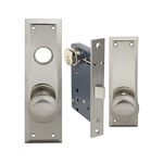 Maxtech or Em-D-Kay or Gotham (Marks 91DW/26D Like) Satin Chrome 26D Left Hand Heavy Duty Mortise Lock Knob Vestibule Function Always Locked Storeroom Latch Only Lockset, PROGRESSIVE Escutcheon Plate Knob Hole And NO Thumb Turn,Surface Mounted Screw-on Kn