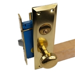 Maxtech Metro Version (Like Marks 91A/3) 1033AMR Polished Brass US3 Right Hand Apartment Mortise Entry Lockset, swivel spindle with Screw on Knobs Surface Mounted Lock Set