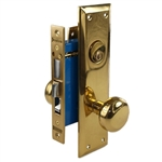 Maxtech (Like Marks 91A/3) 1033AR Polished Brass Right Hand Heavy Duty Mortise Entry Lockset, Surface Mounted Screw-on Knobs Lock Set