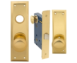Em-D-Kay (Like Marks 91DW/3-X), Polished Brass, MAXTECH Wide Face Plate, Left Hand, Heavy Duty Mortise Lock Knob Vestibule Function Always Locked Storeroom Latch Only Lockset, Surface Mounted Screw-on Knobs Lock Set