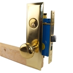 Maxtech Metro Version (Like Marks 114A/3) 1033BML Polished Brass US3 Left Hand Apartment Mortise Entry Lockset, self-Adjusting spindles with Screwless Knobs Thru Bolted Lock Set