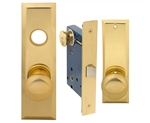 Maxtech (Marks 114DW/3-X Like), Polished Brass, Wide Face Plate, Left Hand, Heavy Duty Mortise Lock Knob Vestibule Function Always Locked Storeroom Latch Only Lockset, Screwless Knobs Thru Bolted Lock Set