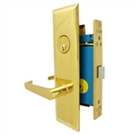 "Maxtech (Marks Metro 116DW/3-X Like) Wide Face Plate, Left Hand, Polished Brass, Heavy Duty Mortise Lock Lever Vestibule Function Always Locked Storeroom Latch Only 2-1/2"" Lock Set, Screwless Lever Thru Bolted Lockset"