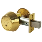 "Medeco 11-0100-05-00 Bright Brass US3 Grade 1 Single Cylinder Deadbolt With 2-3/8"" Backset And High Security Original 00 Keyway"