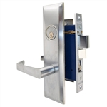 Marks Metro 116A/26D, Satin Chrome Left Hand Entrance Angled Lever Escutcheon Plate Mortise Entry Lockset, Screwless Angled Lever Thru-Bolted Lock Set