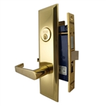 Marks Metro 116A/3, Polished Brass Left Hand Entrance Angled Lever Escutcheon Plate Mortise Entry Lockset, Screwless Angled Lever Thru-Bolted Lock Set