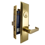 Marks Metro 116A/3, Polished Brass Right Hand Entrance Angled Lever Escutcheon Plate Mortise Entry Lockset, Screwless Angled Lever Thru-Bolted Lock Set