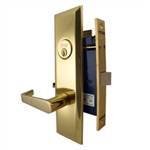 "Marks Metro 116DW/3, Polished Brass Left Hand Mortise Lock Angled Lever Escutcheon Plate Vestibule Function Always Locked Storeroom Latch Only 2-1/2"" Lock Set, Screwless Angled Lever Thru Bolted Lockset"