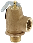 "Apollo Valves, 13-211-B15, 3/4"" NPT Male x Female Side Outlet Pop Saftey Relief Valve, ASME Steam, 15 psi Set Pressure"