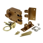 GUARD SECURITY, 1303, Brass, Jimmy Proof Single Cylinder Deadlock Deadbolt With Angle and Flat Strike, Boxed