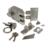 GUARD SECURITY, 1303CH, Satin Nickel, Jimmy Proof Single Cylinder Deadlock Deadbolt With Angle and Flat Strike, Boxed