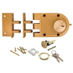 Guard Security 1404 Jimmy Proof Deadlock Deadbolt Double Cylinder With Angle and Flat Strike - Brass