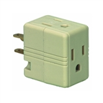 Pass & Seymour, 1482ICC10, Ivory, 15A, 125V, Grounded Triple Cube Adapter, NEMA 5-15R