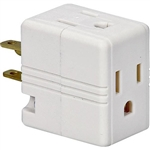 Cooper Wiring, 1482W, White, 15A, 125V, Grounded Triple Cube Adapter, NEMA 5-15R