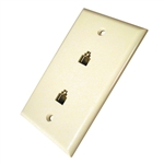 CONECT IT, 20-520WH, White, Flush Mount, Modular Phone Duplex Jack Wall Plate