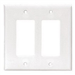 Cooper Wiring 2052W White MIDI Midway Size 2 Gang Decorator Rocker / Block Duplex / GFI Recepts. Wall Plate