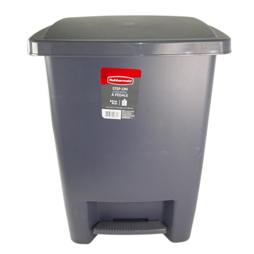rubbermaid cylind 33 qt step on cylinder gray plastic kitchen wastebasket trash garbage can