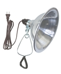 "Power Cords & Cables PCC, 34906, 1 Clamp Lamp Light, With Standard Push Through Socket, 6' 18/2 Brown Cord, 8-1/2"" Reflector Shade, 150 Watt Max Bulb"