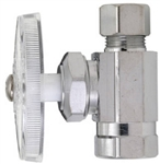 "Aqua Plumb, 3730, Chrome, 3/8"" Female Iron Pipe x 3/8"" OD Compression, Straight Supply Stop Valve"