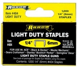 "Arrow Fastener, 404, 1000 Pack, 1/4"" Light Duty Staple, Wide Crown"