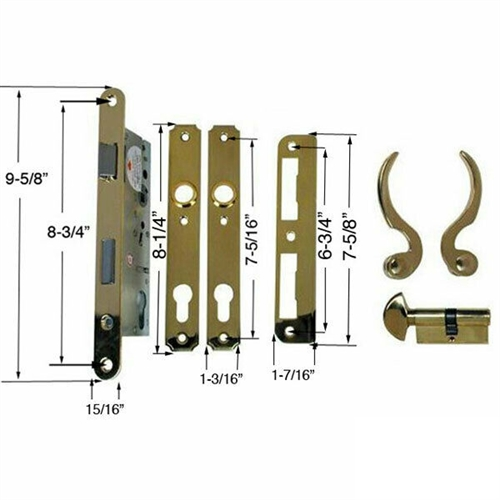 Ultra Hardware 44625 Brass Right Hand Single Cylinder Mortise Entry Lever Handle Plate Trim