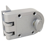 Ultra Hardware 44861 Jimmy Proof Single Cylinder Deadlock Deadbot With Angle and Flat Strike - Silver, Boxed