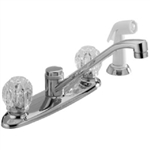 Master Plumber (Peerless), 452680, Chrome 2 Plastic Knob Handle Kitchen Faucet With White Spray