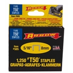 "Arrow, 50524, T50 Type Staples, 1250 Pack, 5/16"" Heavy Duty Staple, Narrow Crown"