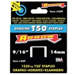 "Arrow, 50924, T50 Type Staples, 1250 Pack, 9/16"" Heavy Duty Staple, Narrow Crown"
