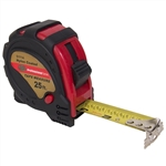 "Tuff Stuff 51114 1"" x 25' Rubber Covered Magnetic Tipped Tape Measure With Quick Lock And Easy Read Measurements"
