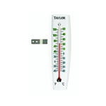 Taylor, 5153, White, Indoor/Outdoor Window Thermometer, Weather Resistant, Wall Mountable