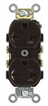 Leviton, 5822, Brown, 20 Amp, 250 Volt, Narrow Body Duplex Receptacle, Straight Blade, Commercial Grade, Self Grounding