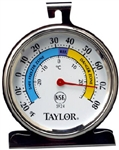 "Taylor, 5924, Classic Stainless Steel 3"" Round Dial Freezer/Refrigerator Thermometer"