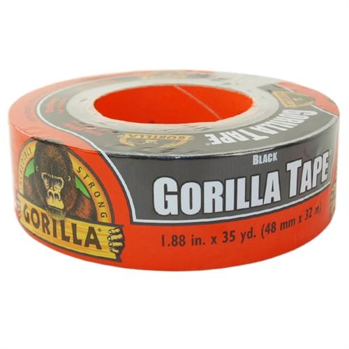 Gorilla Tape Black, Black Duct 1.88 x 35 yd Pack of 2