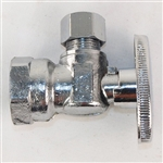 "Master Plumber 604043 Chrome 1/4"" Turn Angle Valve With 1/2"" FIP To Connector 3/8"" Compression"