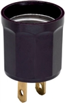 Pass & Seymour, 61, 660W, 125V, Brown, Outlet To Lampholder Adapter, Medium Base