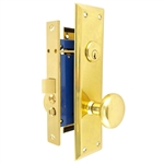HUD (Marks 91D/3 Like) Polished Brass Right Hand Mortise Lock Knob, Office Vestibule, Passage Always Open OR Storeroom Always Locked, Classroom, Latch and Rocker (No Bolt) Lockset, Surface Mounted Screw-on Knobs Lock Set