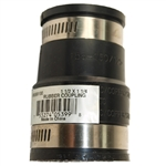 "Aqua Plumb 6569100 Black 1-1/2"" x 1-1/4"" Flexible Rubber Coupling With 2 Stainless Steel Clamps"
