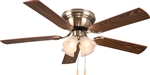 "Ultra Hardware, 74003, Antique Brass, 52"" Ceiling Fan Uses 4 Standard Medium Base Lamp Lights Bulbs"