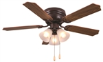 "Ultra Hardware, 74004, Oil Rubbed Bronze, 42"" Ceiling Fan Uses 3 Standard Medium Base Lamp Lights Bulbs"