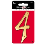 "The Hillman Group 847046 4"" Traditional Solid Brass House Number 4"