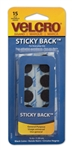"Velcro USA, 90069, 5/8"", Black, 15 Sets/Pack, Velcro Sticky Back Hook and Loop Coins Fasteners on Strips"