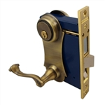 Marks, 9215AC/5-W-LHR, Antique Brass, Left Hand, Ornamental Unilock Lever Plate Mortise Entry Lockset Iron Gate Door Double Cylinder Lock Set