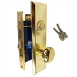 Gotham (Marks 114A/3 Like) 9900LAK Left Hand Heavy Duty Polished Brass Mortise Entry Lockset, Screwless Knobs Thru Bolted Lock Set