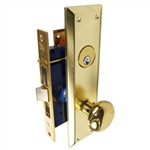 Gotham (Marks 91A/3 Like) 9900R Right Hand Heavy Duty Polished Brass Mortise Entry Lockset, Surface Mounted Screw-on Knobs Lock Set