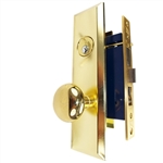 Gotham (Marks 114A/3 Like) 9900RAK Right Hand Heavy Duty Polished Brass Mortise Entry Lockset, Screwless Knobs Thru Bolted Lock Set