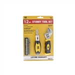 KC Professional, 99012, 12 Piece Stubby Tool Set, Ratchet Screwdriver & Adjustable Wrench