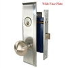 Marks New Yorker 9NY10DW/26D-X, MAXTECH Wide Face Plate, Left Hand Satin Chrome Mortise Lock Knob Vestibule Function Always Locked Storeroom Latch Only Lockset Screwless Knobs Thru Bolted, Lock Set