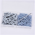 "Starborn, ANK06, 100 Pack #6 - 8 Anchors, Screws 8 x 1"" Phillips, Plastic Ribbed Anchor Kit"